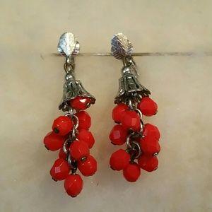 1970 Lewis Segal Red cut glass bead earrings